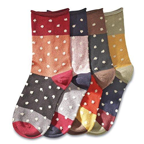 Women's Fun Mismatched Polka Dot Cotton Socks - Set Of 4 (Wicked Witch Socks)
