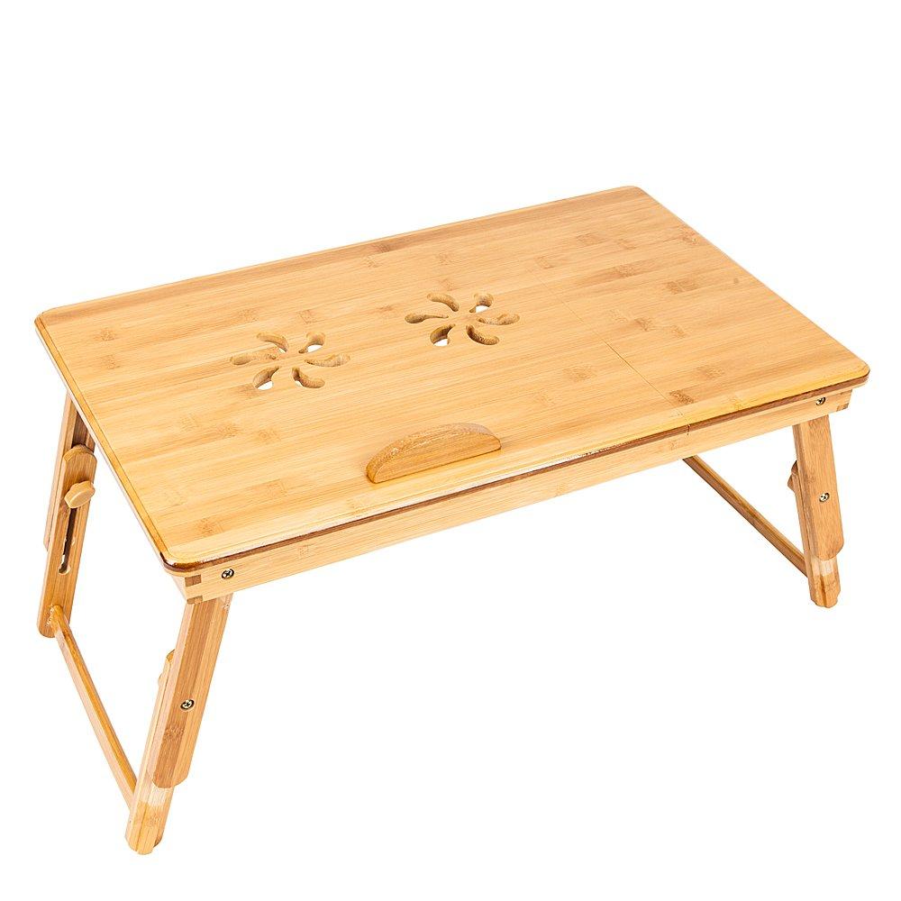 Lovinland Bed Desk Portable Double Sunflower Engraving Pattern Adjustable Bamboo Lap Desk Wood Color
