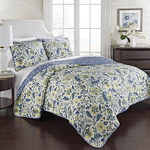 WAVERLY 100% Cotton 3 Piece Reversible Quilt Set (1 Quilt + 2 Shams)  (Full/Queen, Imperial Dress   Porcelain)