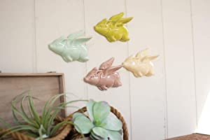 KALALOU Ceramic Flying Pigs, Set of 4, One Size, Multicolor