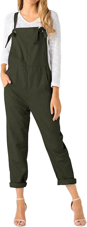 ACHIOOWA Mono para Mujer Peto de Pantalones Casual Ajustable Correa Rompers Largo Sin Mangas Monos de har/én Mono de Pierna Ancha Overalls con Bolsillo