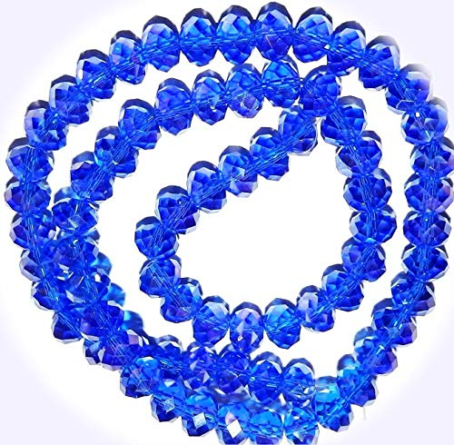 New Dark Sapphire Blue AB 8mm Rondelle Faceted Cut Crystal Glass Jewelry-Making Beads 16-inch DIY Craft Supplies for Handmade Bracelet Necklace