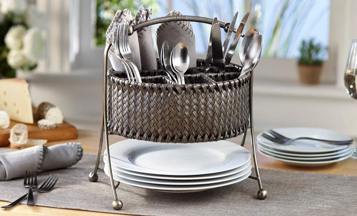 Inspired Living by Mesa Yardley Woven Picnic Caddy Gunmetal Frame and Gray Rattan napkin-holders, WICKER -