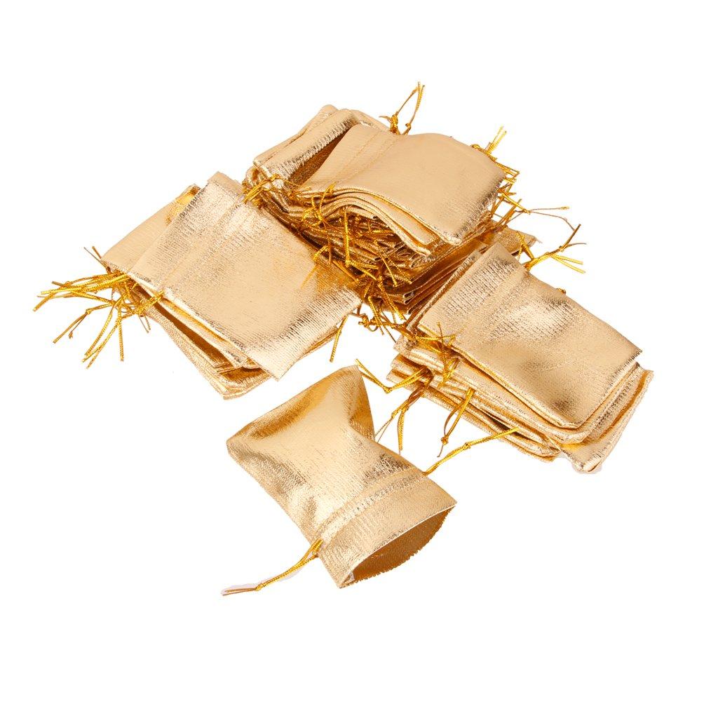 Unbekannt 100pcs Stoffbeutel Schmuckbeutel Geschenk Beutel Stoffsack Gold 7x9cm