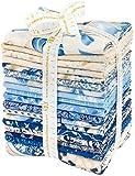 Peggy Toole Holiday Flourish 10 Blue 17 Fat Quarters 1 Panel Robert Kaufman Fabrics FQ-1210-18