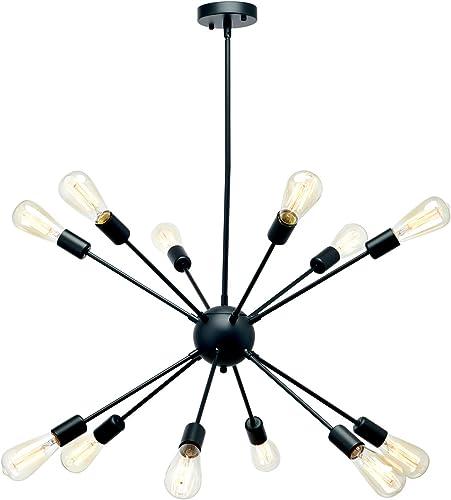 12-Lights Sputnik Chandelier Dining Room Hanging Lighting Fixtures Starburst Ceiling Light Modern Industrial Pendant Chandelier for Kitchen Dining Room Living Room,Black