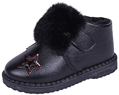 VECJUNIA Boys Girls Winter Boots Ankle High Waterproof Thicken Snow Shoes Running