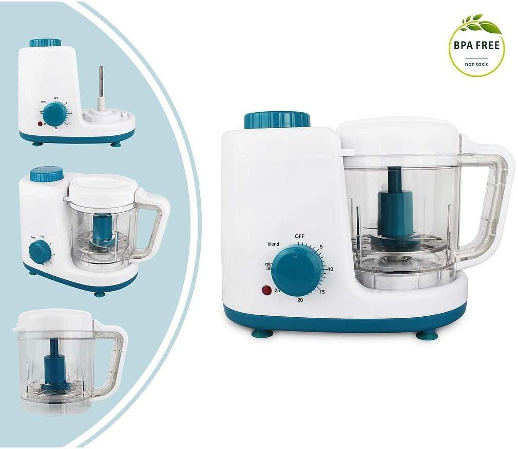 Blanzo//Azul Voltaje: 220-240 V Robot Alimentos para Beb/és Funci/ón: Vaporera y Licuadora 2 en 1 Leogreen Licuadora de Alimentos para Beb/és