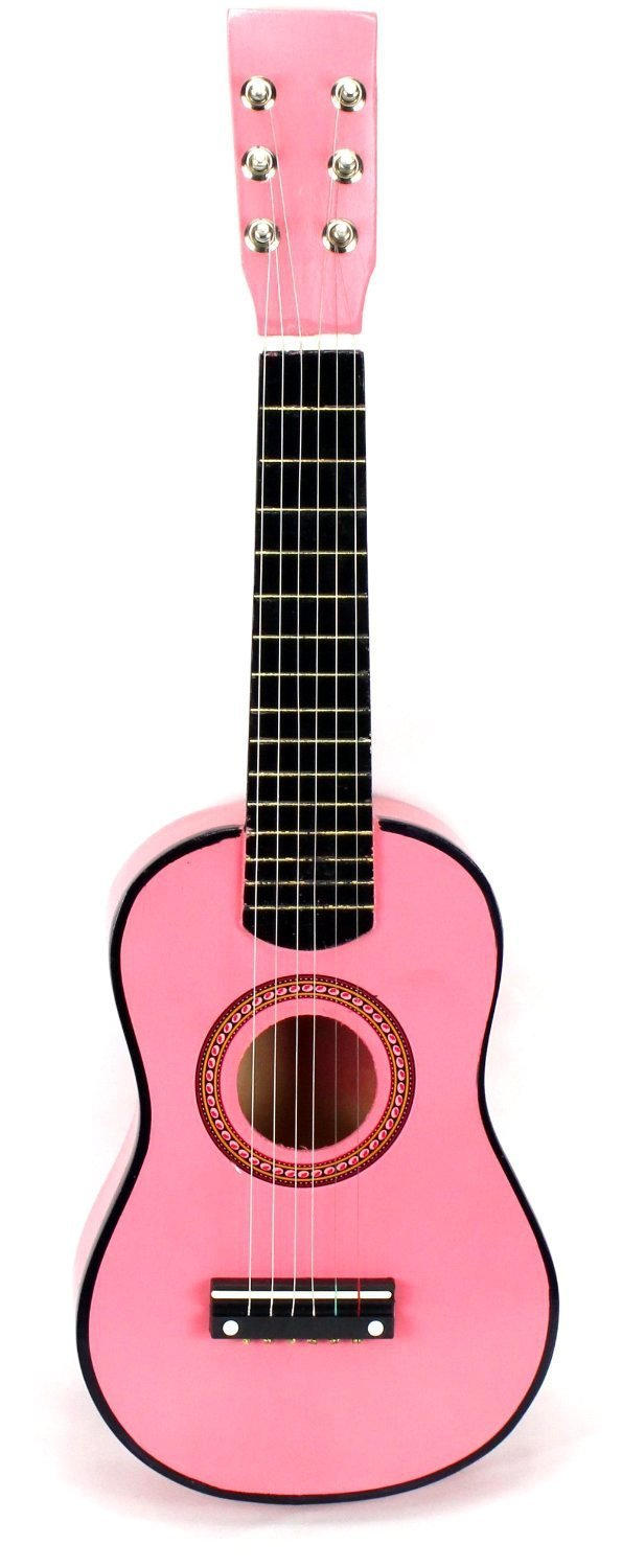 Acoustic Classic Rock 'N' Roll 6 Stringed Toy Imitation Guitar Musical Instrument w/ Guitar Pick, Extra Guitar String (Pink)