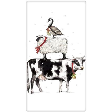Mary Lake-Thompson Holiday Stacked los Animales del Campo de algodón Harina Saco Toalla de