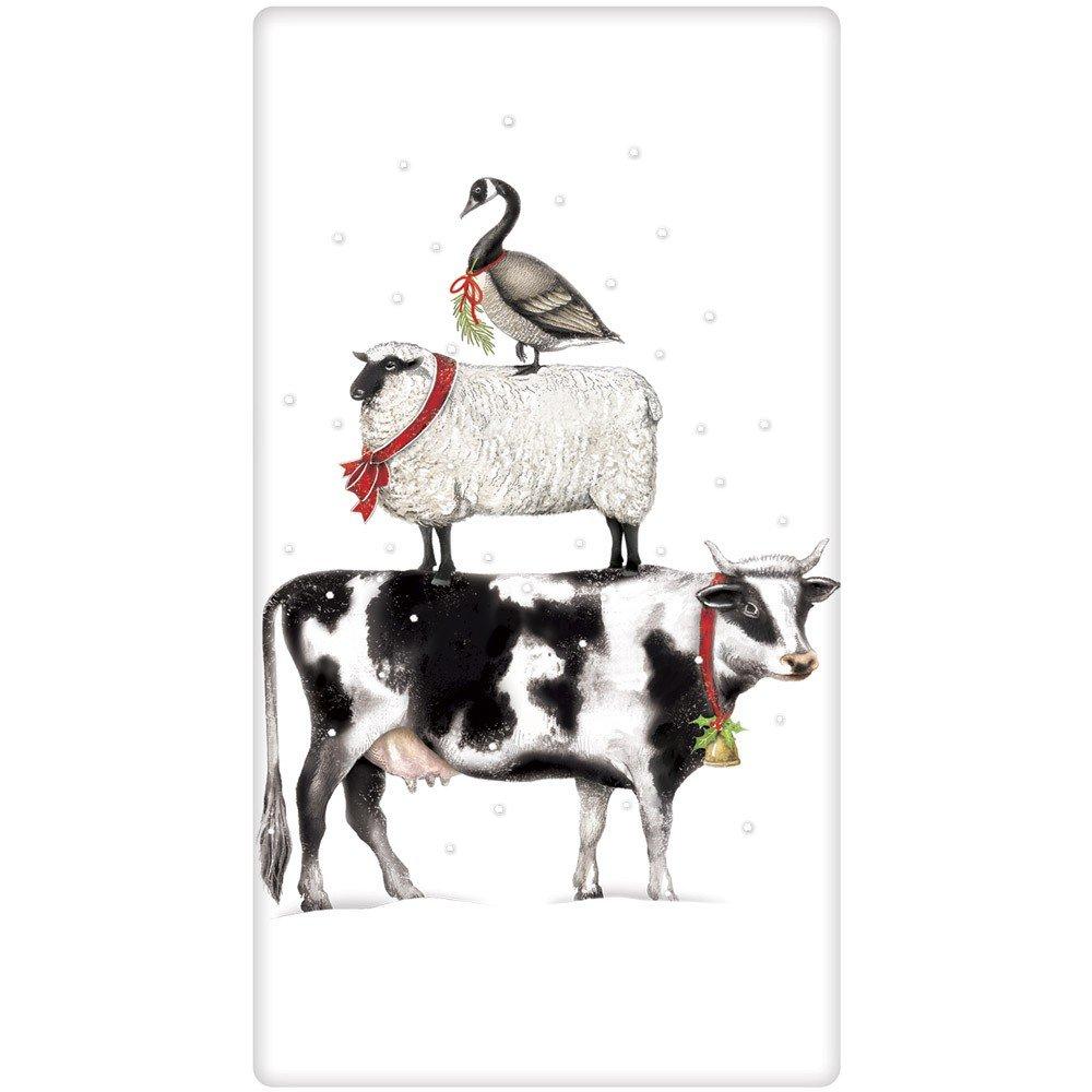 Mary Lake-Thompson Holiday Stacked Farm Animals Cotton Flour Sack Dish Towel