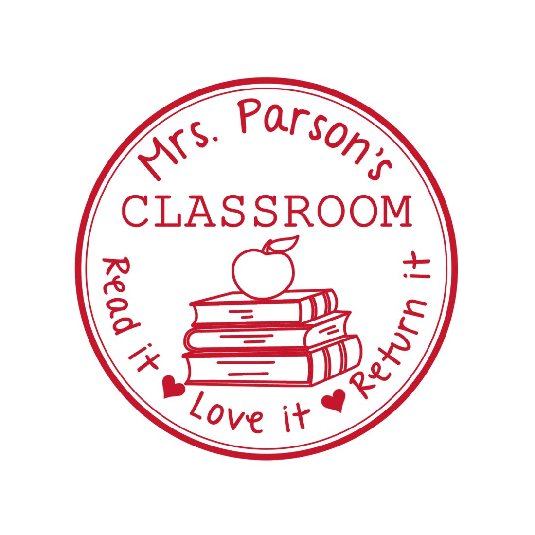 Wooden Handle - Separate Ink Pad Required Wooden Handle Stamp From the Library of Teacher Gift Customizable Teacher Stamp This Belongs to Labels Personalized Circle Classroom Stamp