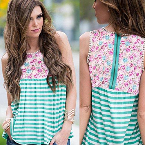 VENMO Mujeres Impresión Floral Rayas sin mangas Crop Tops Chaleco Espalda Cremallera Chaleco Camiseta Sin Mangas Verde