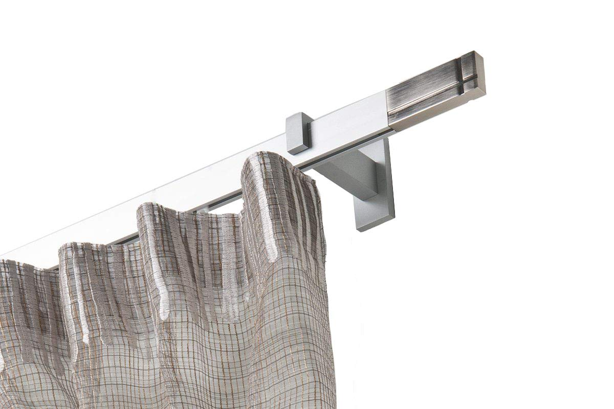 InCasa Gardinenstange cm, 32 x 12 mm, Länge  140 cm, Gardinenstange rechtwinklig gebürsteter Aluminium – komplett 657b33
