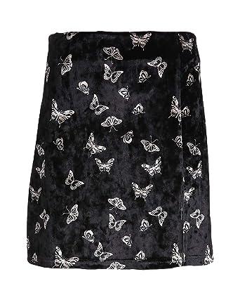 Mengyu Falda Corta para Mujer Faldas de Falso Terciopelo Negro L ...