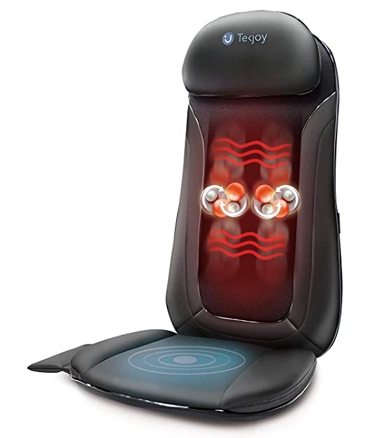 Tekjoy Vibration Shoulder and Back Massager for Chair with Heat Function, Rolling and Spot and Kneading Shiatsu Deep Tissue Massage Cushion for Shoulders, Back & Hip Area