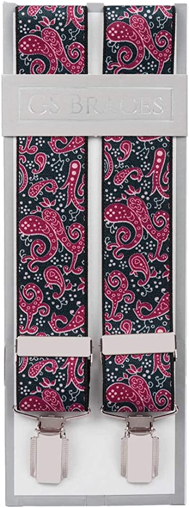 Paisley Braces for Men Trouser Braces Suspenders X Back in Blue and Burgundy or Black and Grey XL XXL Extra Long Available 4 Strong Silver Clips