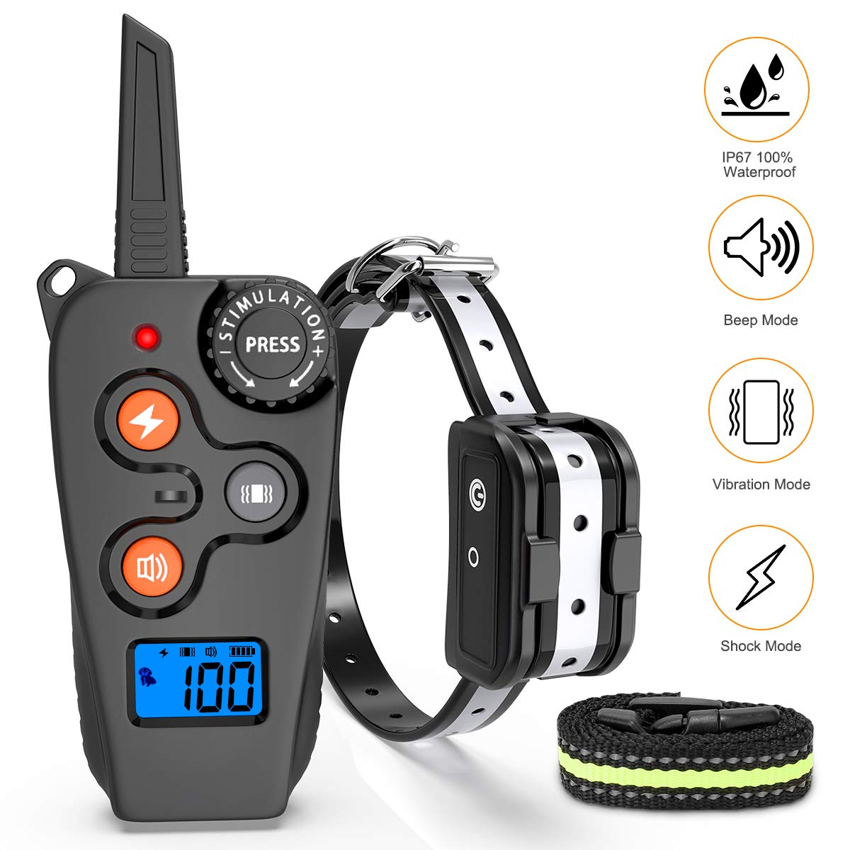 oneisall Shock Collar for Dogs, Rechargeable Dog Training Collars Bark Collar with Remote for Small Medium Large Dogs by oneisall