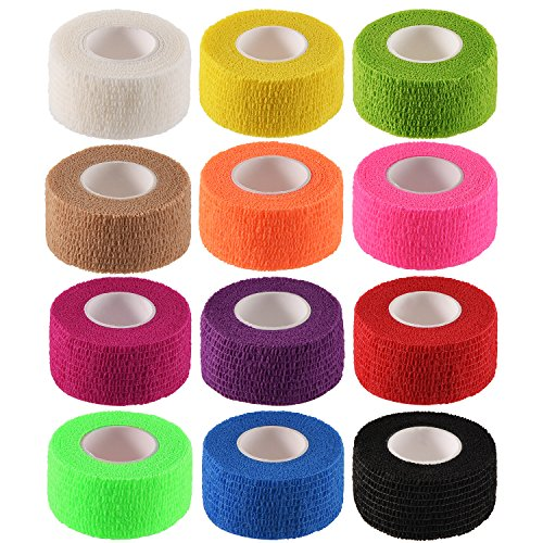 Pangda 12 Pieces Adhesive Bandage Wrap Stretch Self-Adherent Tape for Sports, Wrist, Ankle, 5 Yards Each (1 Inch, 12 Colors) ()