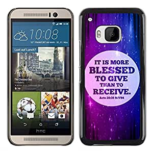 Paccase / SLIM PC / Aliminium Casa Carcasa Funda Case Cover para - BIBLE It Is More Blessed To Give Than To Receive - Acts 20:35 - HTC One M9