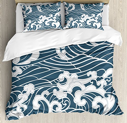 - Ambesonne Japanese Wave Duvet Cover Set, Hand Drawn Traditional Style Aquatic Doodle River Storm Retro Abstract, Decorative 3 Piece Bedding Set with 2 Pillow Shams, Queen Size, Slate Blue