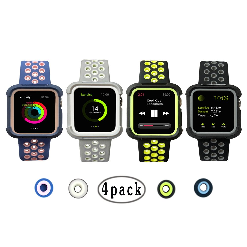 Case with Band for Apple Watch 38 mm/42 mm、耐衝撃、shatter-resistant保護ケースwithシリコン交換用ストラップバンドリストバンドfor Apple Watchシリーズ3 & 2 & 1 42mm Small BDKZH-04 42mm Small|4Pack 4Pack 42mm Small B07DCJ9T9F