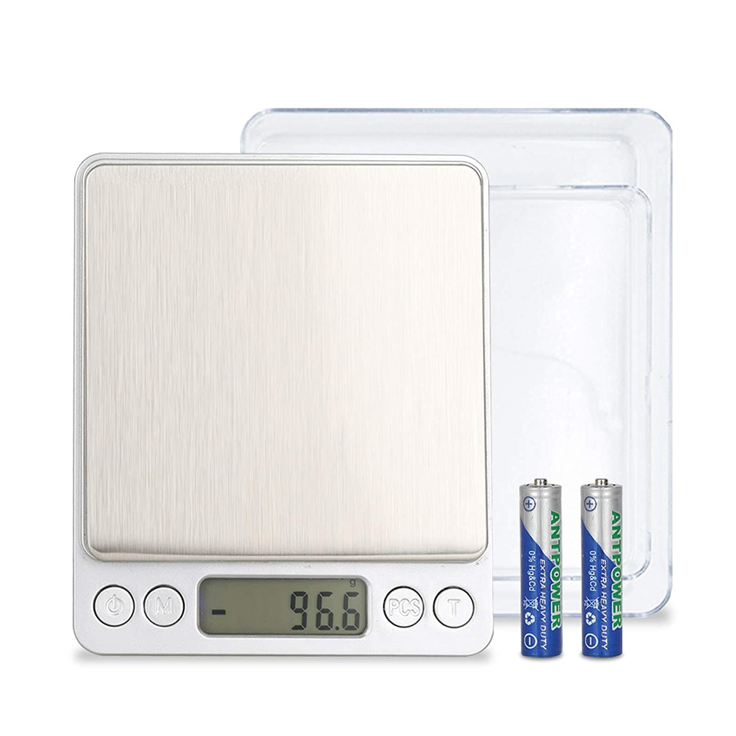 Digital Kitchen Scale ,3kg/0.1g Stainless Steel Food Scale with Backlit LCD Small Jewelry Scale, Food Scales Digital Weight Gram and Oz, Trays,Tare Function, Jewelry Scale for Food, Cooking, Baking