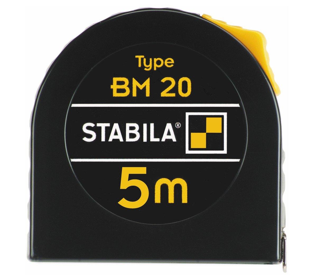 Stabila MPBM20 BM 20 Mè tre-ruban de poche, Noir/jaune, 5 m 16446