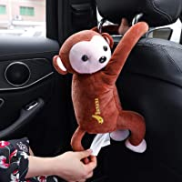 SUGEER Creative Monkey Tissue Box Cartoon Tissue Cover Paper Holder Napkin Box Paper Storage for Car Home Bathroom (Brown)