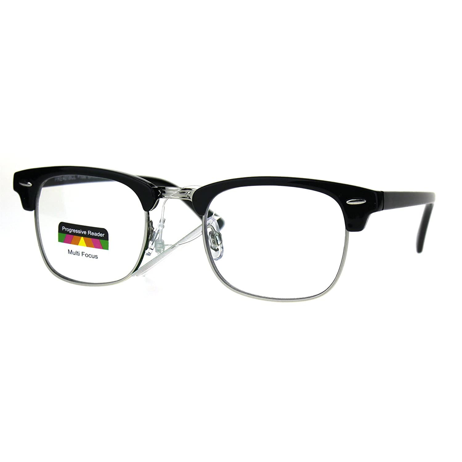 f6197a40903 Half horn rim hipster multi focus progressive reading glasses black silver  clothing jpg 1500x1500 Hipster reading