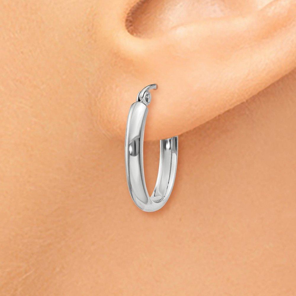Mia Diamonds 14k White Gold Polished 2.75mm Oval Tube Hoop Earrings
