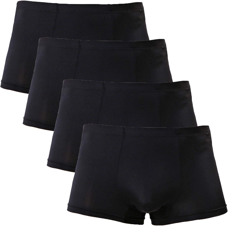 YuKaiChen Men's Trunks Underwear Silk Boxer Briefs Short Leg