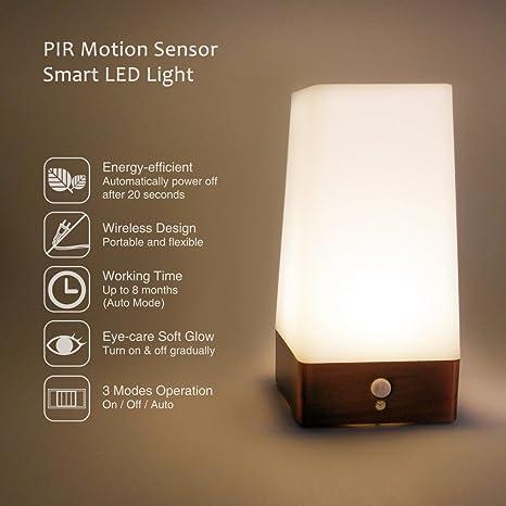 Lampara de Mesa Luz Nocturna LED de Bateria con Detector de Movimiento sin Cable Iluminacion Blanco