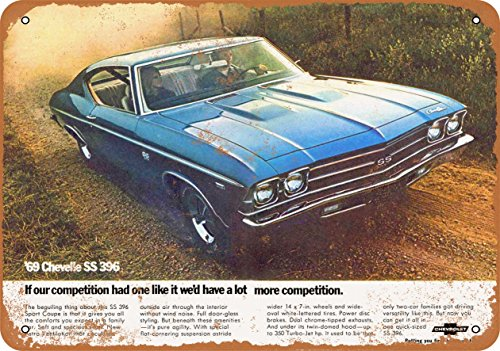 Wall-Color 9 x 12 Metal Sign - 1969 Chevrolet Chevelle SS 396 - Vintage Look 2 ()