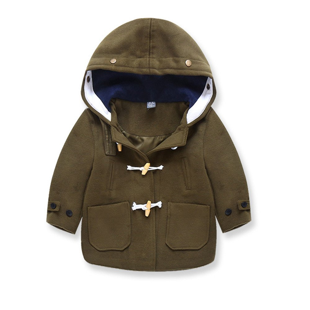 Jchen(TM) Clearance Toddler Kids Baby Little Boys Autumn Winter Hooded Thick Warm Coat Cloak Jacket for 1-6 Y (Age: 1-2 Years Old, Green)