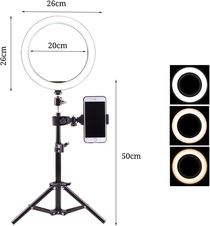 FDGBCF Photography Dimmable LED Selfie Ring Light Video Live 3500k-5500k Photo Studio Light with Phone Holder USB Plug Tripod,F