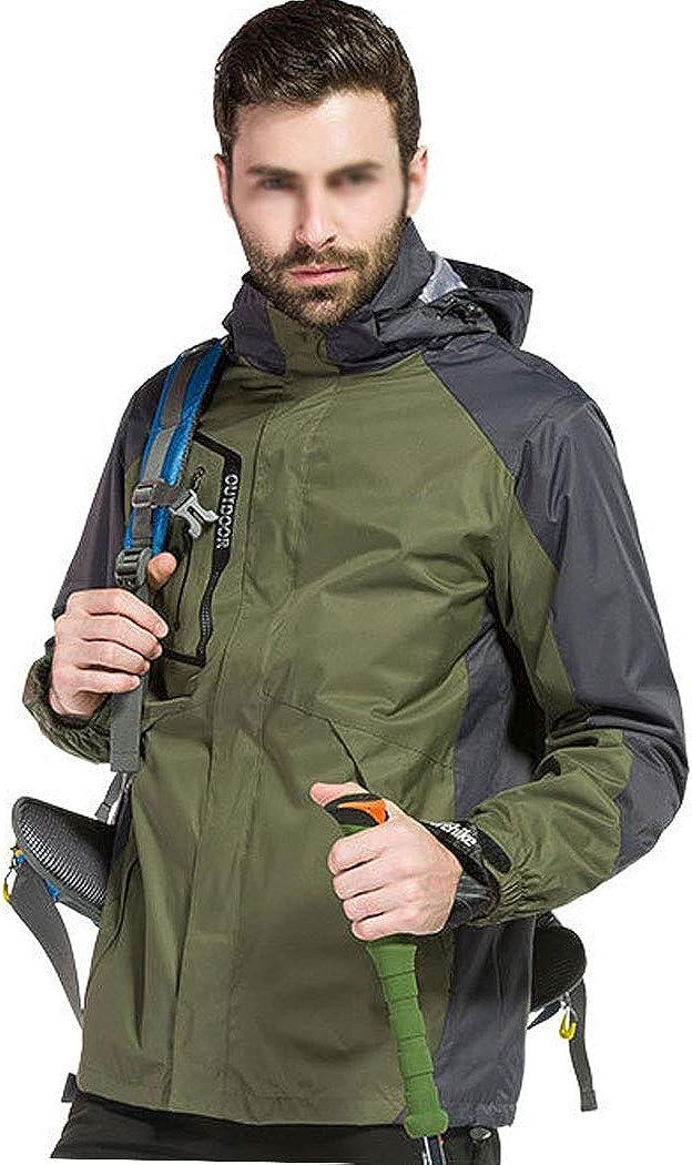 メンズジャケット厚く取り外し可能なツーピース防水防風アウトドア登山スポーツウェア釣りスーツスキースーツ ダークグリーン S