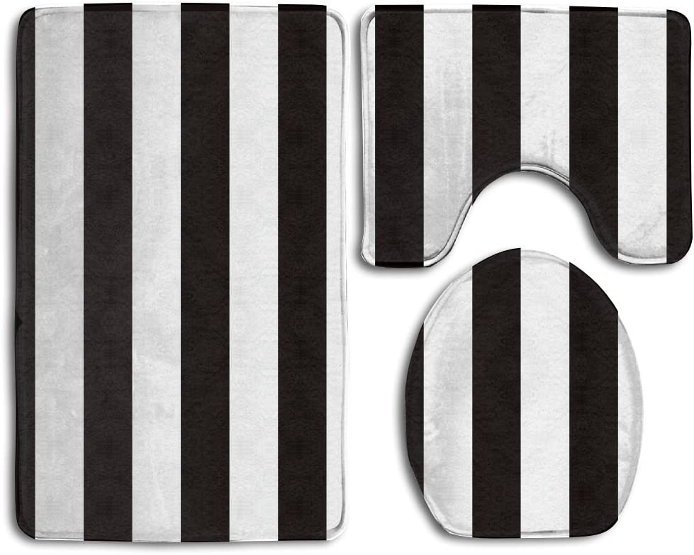 Amazon Com Black White Stripe 5 Bath Mat Bathroom Carpet Rug Washable Non Slip 3 Piece Bathroom Mat Set Home Kitchen