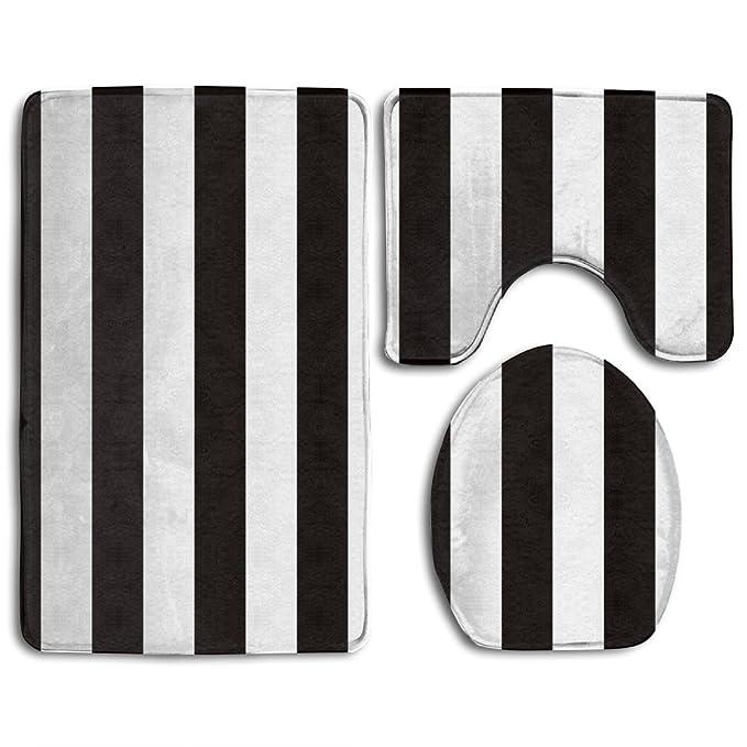 Amazoncom Black White Stripe 5 Bath Mat Bathroom Carpet Rug