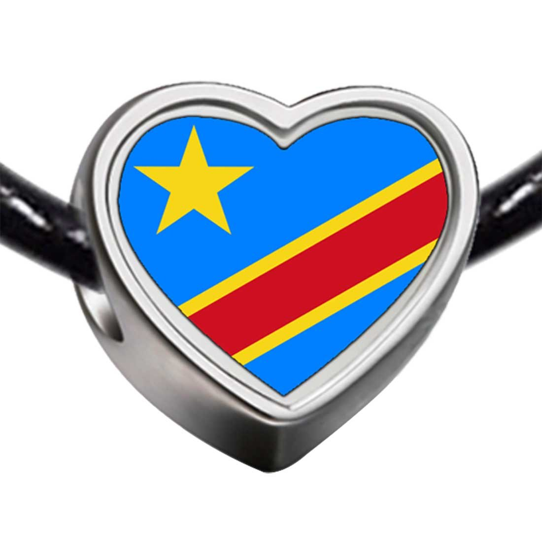 GiftJewelryShop Silver Plated Democratic Republic of The Congo Flag Photo Heart Bead Charm Bracelets
