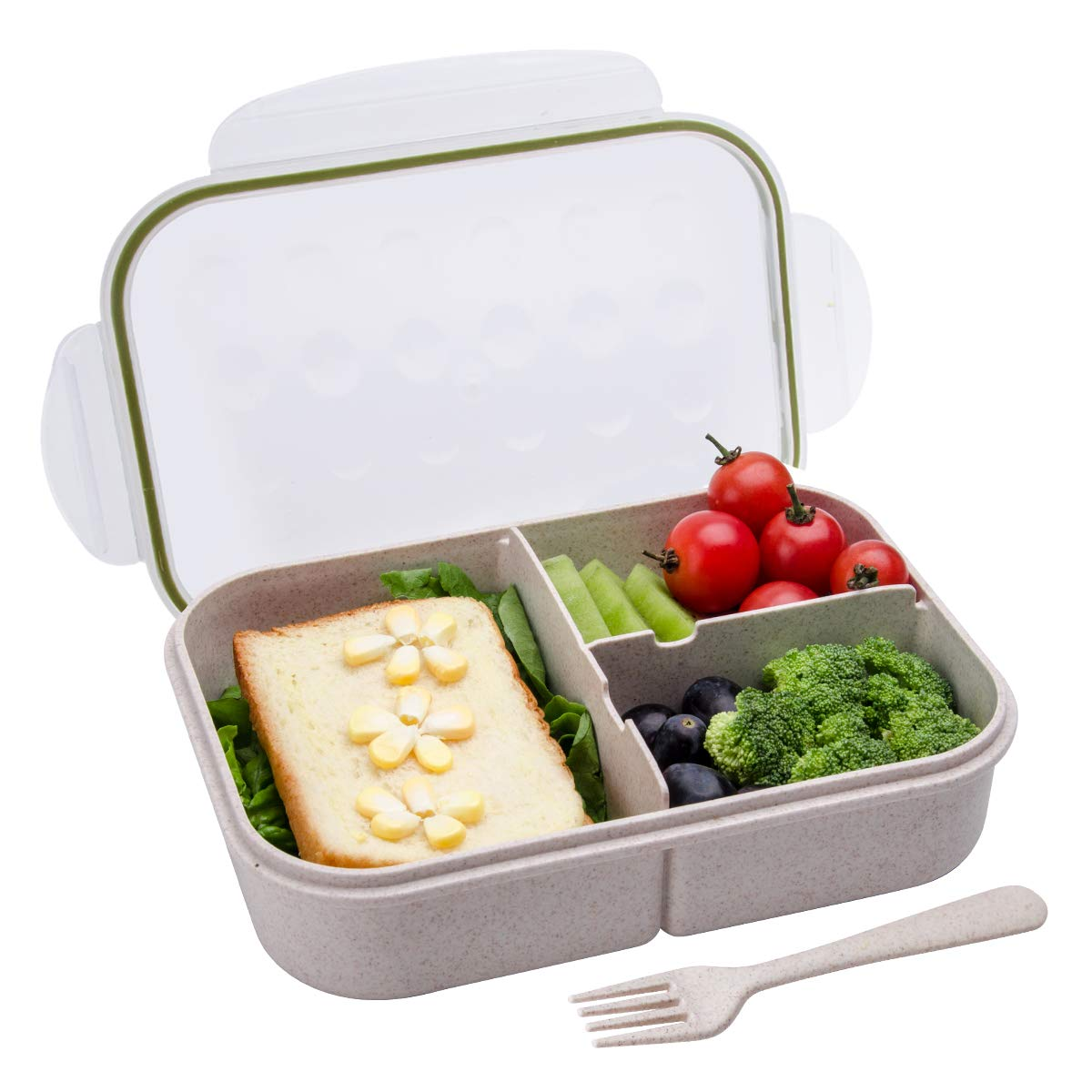 a46aeebf8e42 Bento Box,Bento Lunch Box for Kids and Adults, Leakproof Lunch Containers  with 3 Compartments, Lunch box Made by Wheat Fiber Material(White) By Itopor