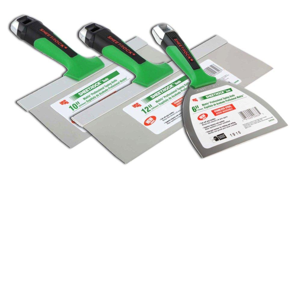 USG Sheetrock Matrix Drywall Taping Knife Set 6''-10''-12'' Stainless Steel by USG Sheetrock