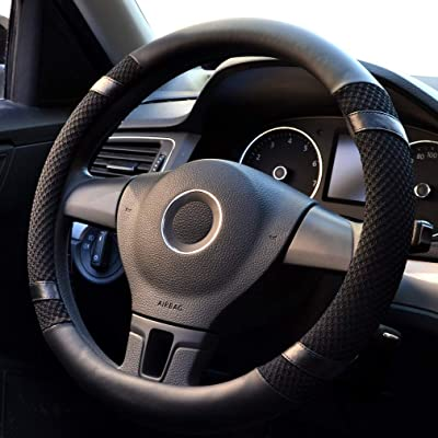 coofig Leather Hand Sewing Fashion, Breathable, Skidproof Car Steering Wheel Cover Universal 15inch (Black, Ice Silk): Automotive [5Bkhe0917999]
