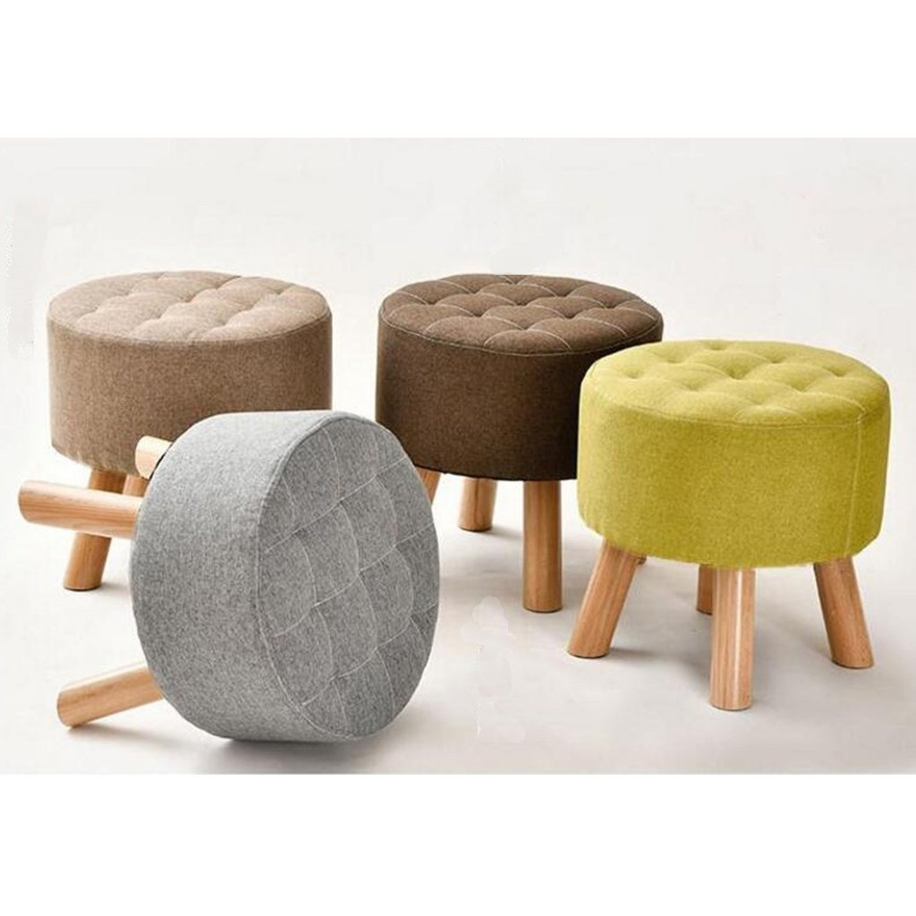 Grey LEITING Round Footstool Ottoman Footrest Pouffe Chair Stool 4 Wooden Beech Legs Upholstered with Linen Fabric Cover