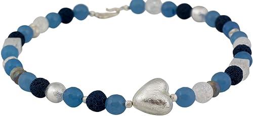 64dfbde010dc  Collar Cadena con colgante  quot alenia Corazón Diseño Joyas Plata 925  piedras preciosas hecho