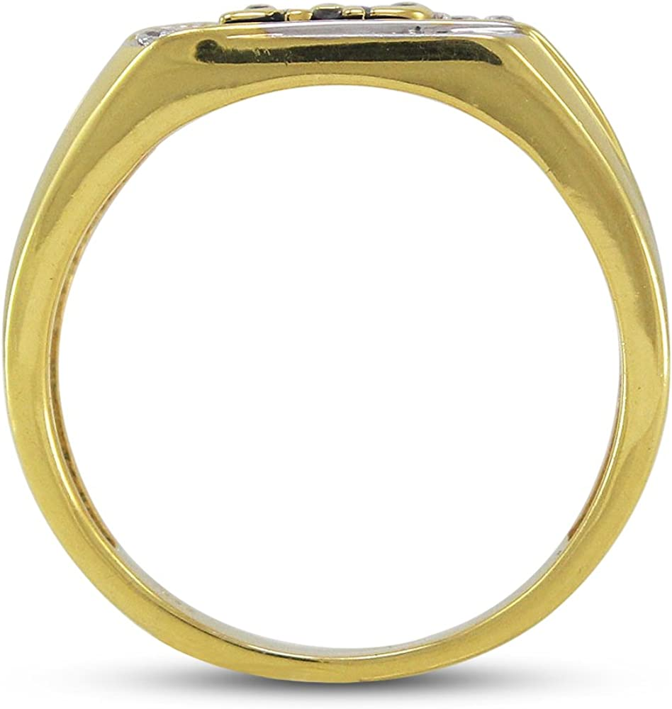 TVS-JEWELS Round Cut White 10k Gold Yellow Gold Plated Fathers Day Special DAD Ring Gift for Mens