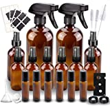 Glass Spray Bottle, Wedama Amber 10 Glass Spray Bottle Set(16/4/2oz), 6 10 ml Essential Oil Roller Bottles Kits with…