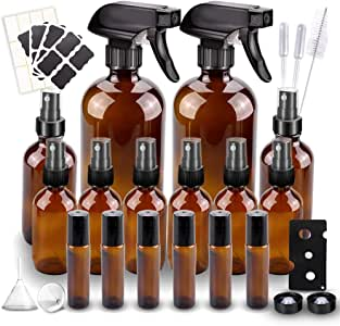 Glass Spray Bottle, Wedama Amber 10 Glass Spray Bottle Set(16/4/2oz), 6 10 ml Essential Oil Roller Bottles Kits with & Accessories for Aromatherapy Facial hydration Watering Flowers Hair Care