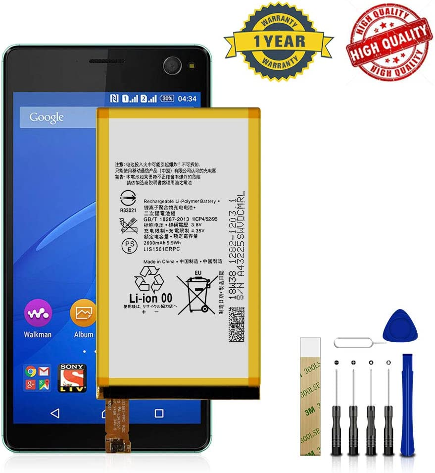 for Sony Xperia Z3 Mini Compact D5803 D5833 Replacement Battery LIS1561ERPC Free Adhesive Tool