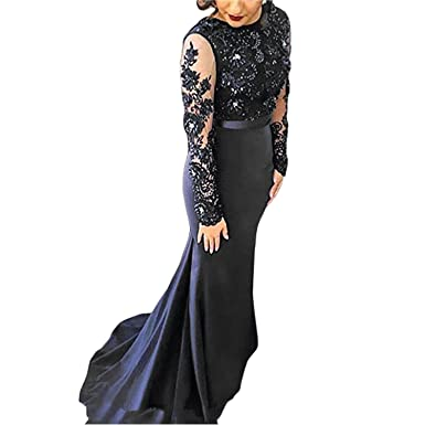BridalAffair Womens Mermaid Navy Blue Lace Appliques Prom Dress Long Sleeves Evening Dress
